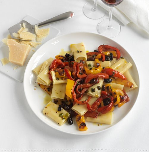 **Paccheri with quick-roasted peppers** **Paccheri with quick-roasted peppers**    [View Recipe](http://www.gourmettraveller.com.au/paccheri-with-quick-roasted-peppers.htm)     PHOTOGRAPH **JASON LOUCAS**