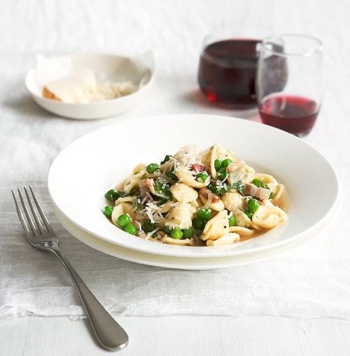 **Pea, pancetta and mint orecchiette** **Pea, pancetta and mint orecchiette**    [View Recipe](http://www.gourmettraveller.com.au/pea-pancetta-and-mint-orecchiette.htm)     PHOTOGRAPH **AMANDA MCLAUCHLAN**