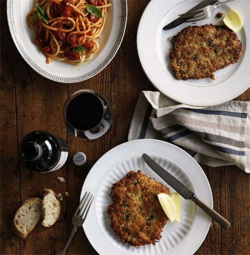 **Veal schnitzel with spaghetti pomodoro** **Veal schnitzel with spaghetti pomodoro**    [View Recipe](http://www.gourmettraveller.com.au/veal-schnitzel-with-spaghetti-pomodoro.htm)     PHOTOGRAPH **WILLIAM MEPPEM**