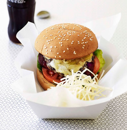 **Classic beef burgers with shoestring fries** **Classic beef burgers with shoestring fries**    [View Recipe](http://gourmettraveller.com.au/classic_beef_burgers_with_shoestring_fries.htm)     PHOTOGRAPH **WILLIAM MEPPEM**