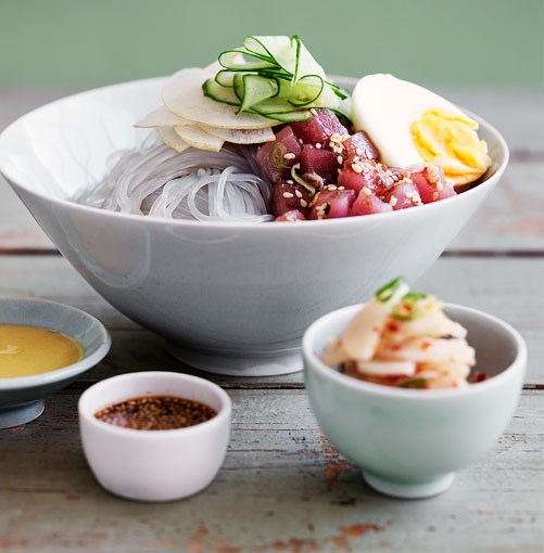"[Dang myun noodles with raw tuna and kimchi daikon](https://www.gourmettraveller.com.au/recipes/browse-all/dang-myun-noodles-with-raw-tuna-and-kimchi-daikon-14050|target=""_blank"")"