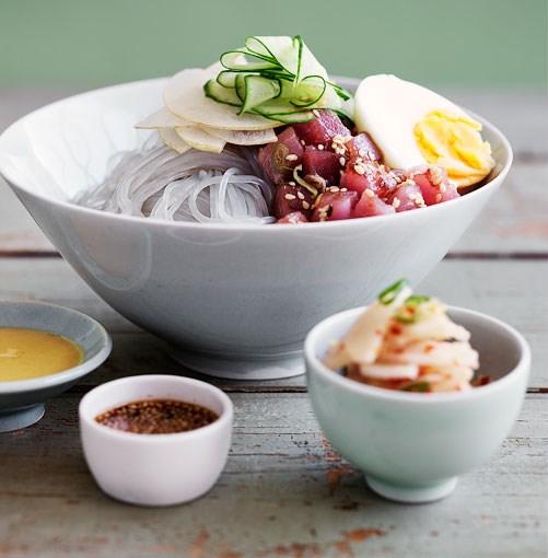 **Dang myun noodles with raw tuna and kimchi daikon**