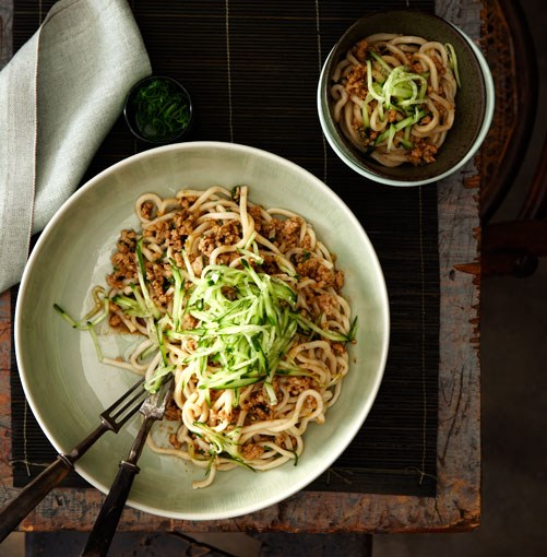 "[Minced pork tossed noodles (Zhajiang mian)](https://www.gourmettraveller.com.au/recipes/chefs-recipes/minced-pork-tossed-noodles-zhajiang-mian-7334|target=""_blank"")"