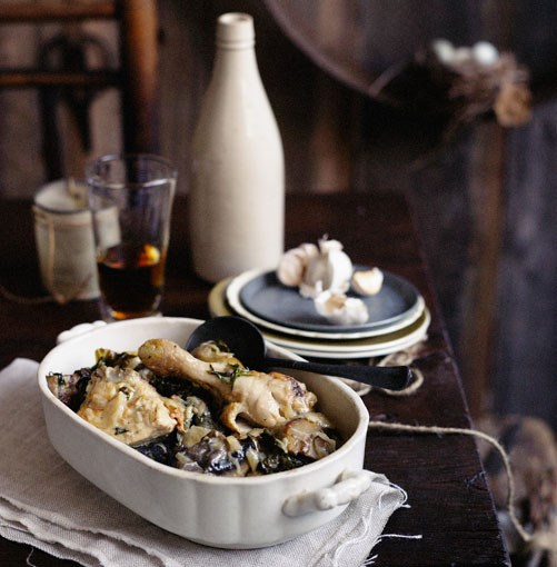 **Chicken braised in beer with mushrooms** **Chicken braised in beer with mushrooms**    [View Recipe](http://gourmettraveller.com.au/chicken_braised_in_beer_with_mushrooms.htm)     PHOTOGRAPH **BEN DEARNLEY**