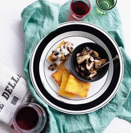 **Fried polenta with mushrooms and Gorgonzola** **Fried polenta with mushrooms and Gorgonzola**    [View Recipe](http://gourmettraveller.com.au/fried-polenta-with-mushrooms-and-gorgonzola.htm)     PHOTOGRAPH **BEN DEARNLEY**