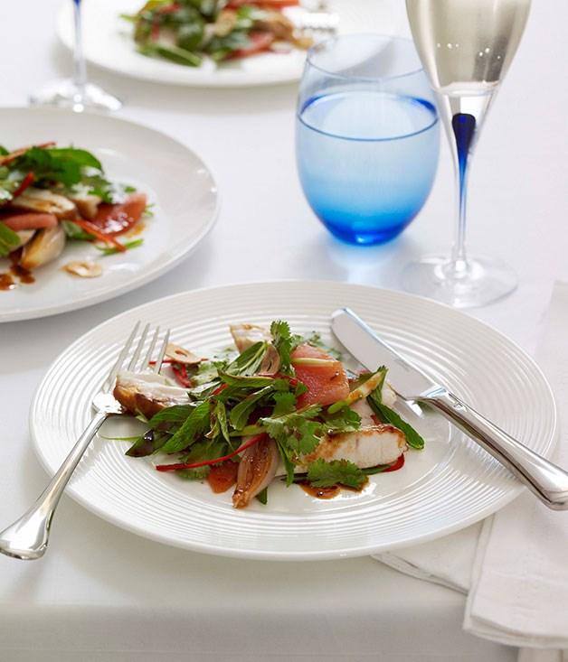 Seared kingfish salad with roast shallot dressing