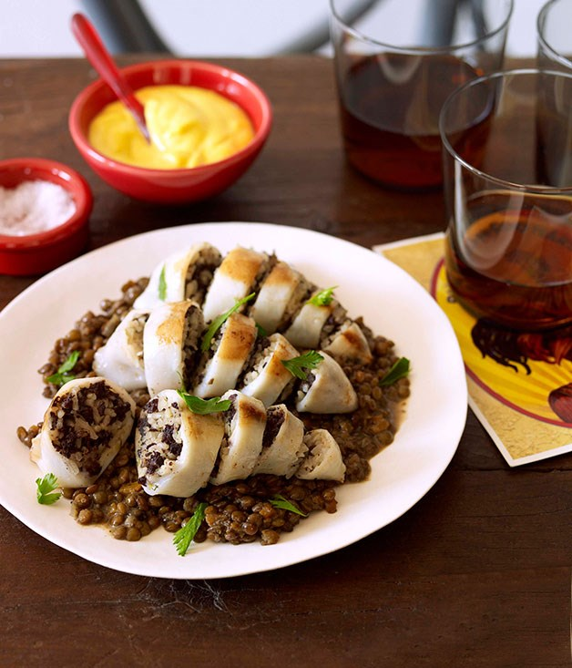 Morcilla-stuffed squid with lentils and saffron alioli
