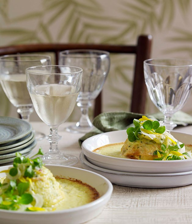 Twice-baked goat's cheese soufflé with fennel and calendula salad