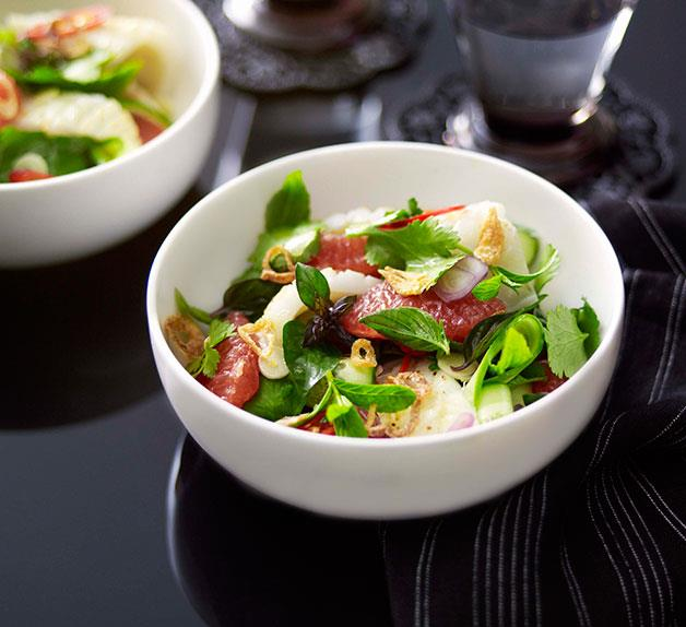 Cuttlefish, cucumber and ruby grapefruit salad