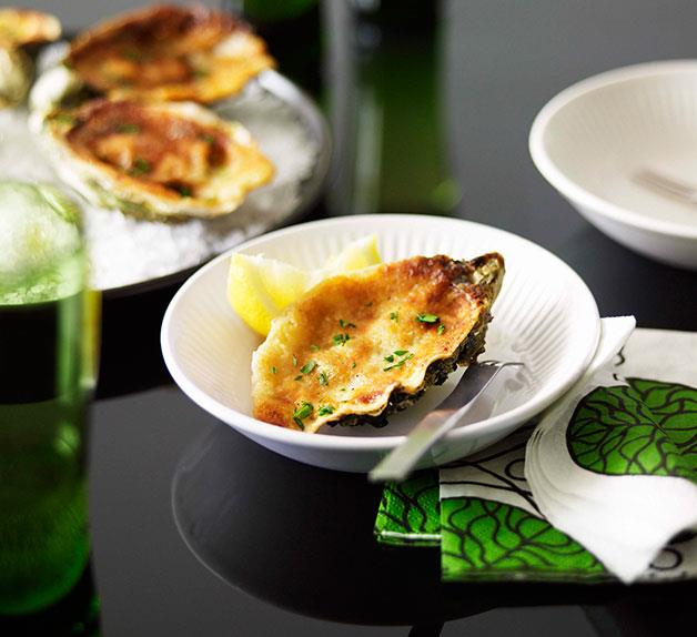 Oysters baked with horseradish and parmesan