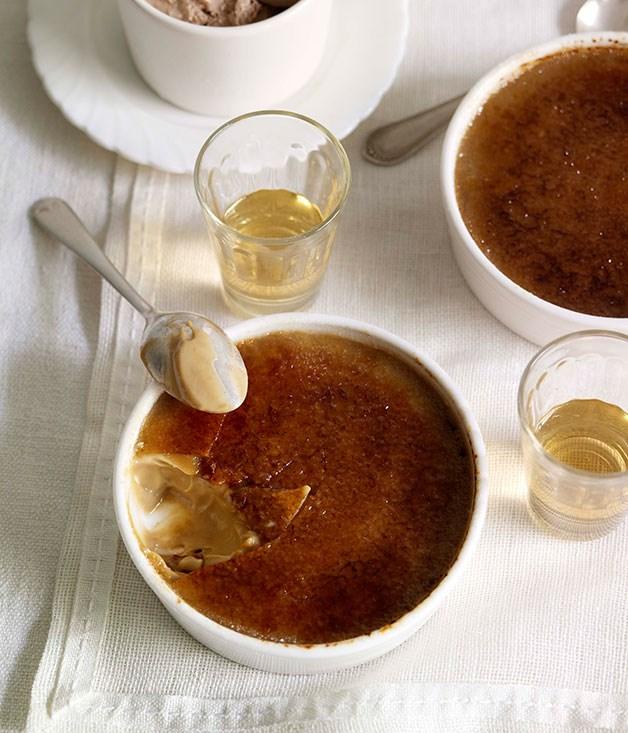 Espresso crème brûlée with hazelnut ice-cream