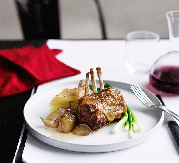 Braised lamb rack with Roquefort potato gratin and baby leeks