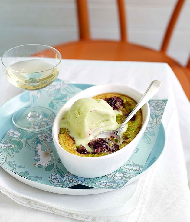 Blackberry and pistachio clafoutis with pistachio ice-cream