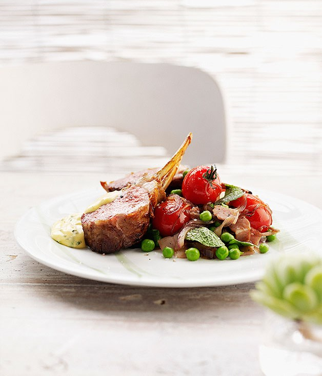 Roast rack of lamb with pancetta, summer vegetables and mint bearnaise