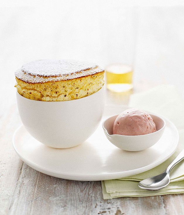 Lime souffle with raspberry ice-cream