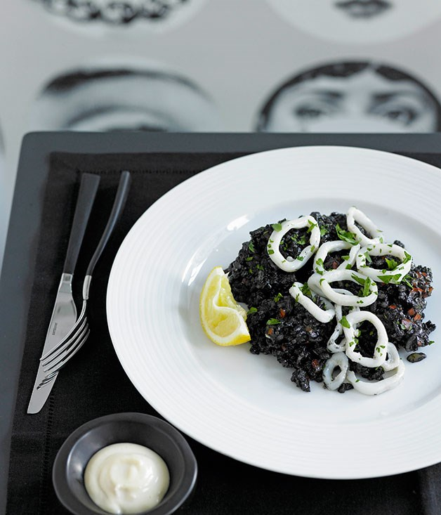 Arroz negro (Squid with rice cooked in squid ink)