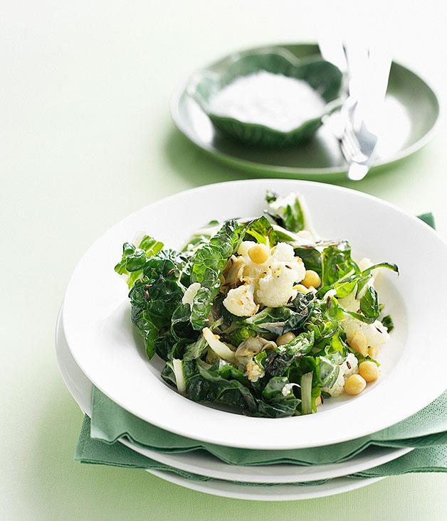 "**[Bodega's fried cauliflower, chickpea and silverbeet salad](https://www.gourmettraveller.com.au/recipes/chefs-recipes/fried-cauliflower-chickpea-and-silverbeet-salad-8832|target=""_blank"")**"
