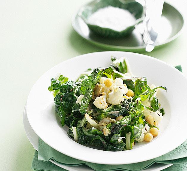 Fried cauliflower, chickpea and silverbeet salad