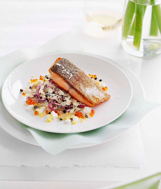 Pan-fried ocean trout with cabbage remoulade