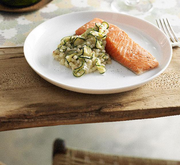 Slow-cooked ocean trout with Israeli couscous, zucchini, chilli and bottarga