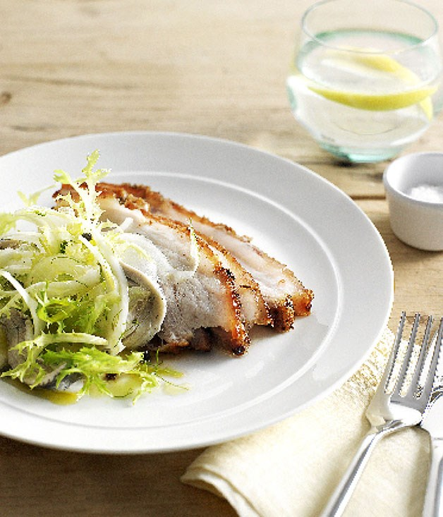 Crisp pork belly with fennel and white anchovy salad