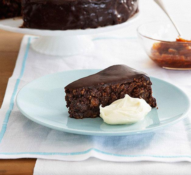 Chocolate fig and hazelnut fudge cake with candied oranges