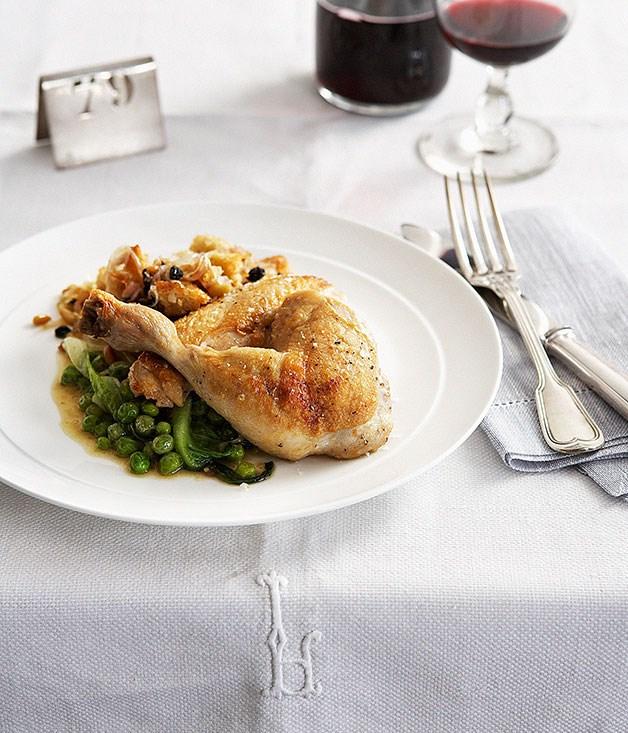 Roast chicken, bread salad, braised lettuce and peas