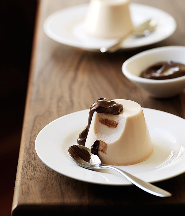 Blood orange and Campari panna cotta with chocolate sauce