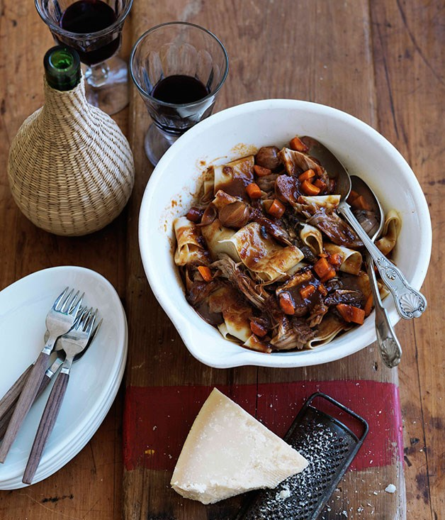 **Braised pork ragu with porcini and muscat** **Braised pork ragu with porcini and muscat**    [View Recipe](http://gourmettraveller.com.au/braised-pork-ragu-with-porcini-and-muscat.htm)     PHOTOGRAPH **WILLIAM MEPPEM**