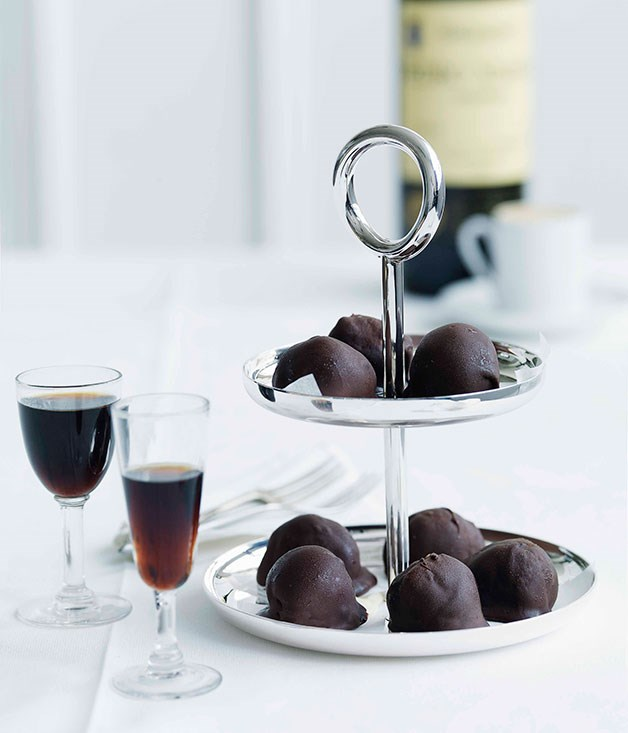 **Dark chocolate-dipped espresso ice-cream balls**