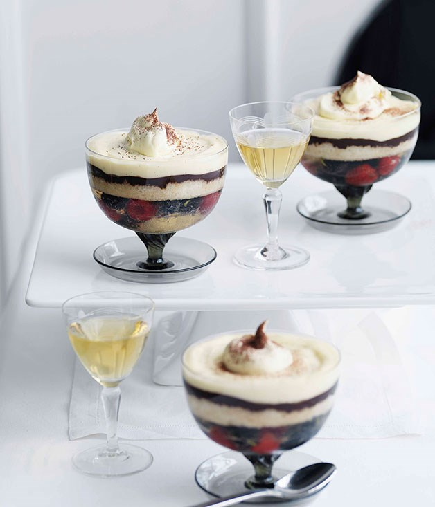 **Blueberry Champagne and dark chocolate trifle** **Blueberry Champagne and dark chocolate trifle**    [View Recipe](http://gourmettraveller.com.au/blueberry-champagne-and-dark-chocolate-trifle.htm)     PHOTOGRAPH **WILLIAM MEPPEM**