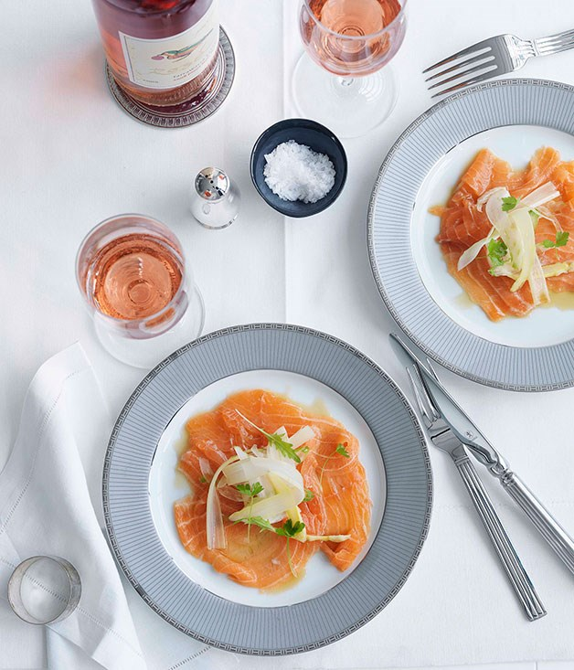 **Salmon carpaccio with citrus ponzu dressing** **Salmon carpaccio with citrus ponzu dressing**    [View Recipe](http://gourmettraveller.com.au/salmon-carpaccio-with-citrus-ponzu-dressing.htm)     PHOTOGRAPH **WILLIAM MEPPEM**