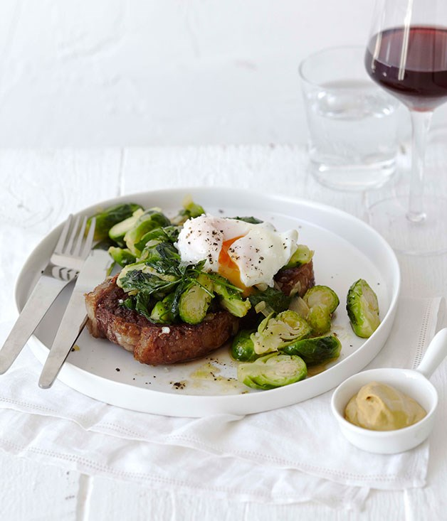 Steak and eggs with Brussels sprouts