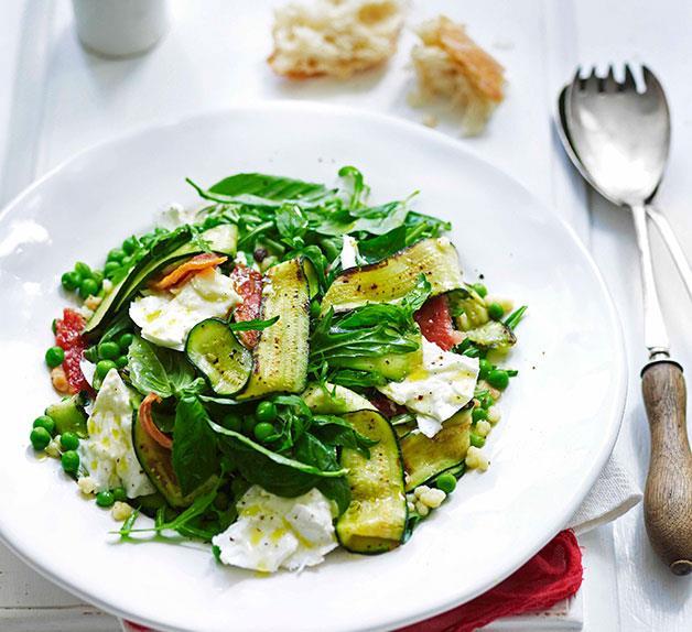 Zucchini, guanciale, mozzarella and fregola salad