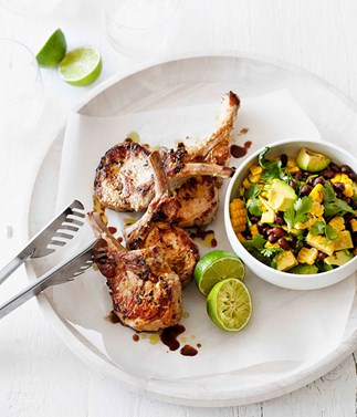 Jerk-style pork with corn, black beans and avocado