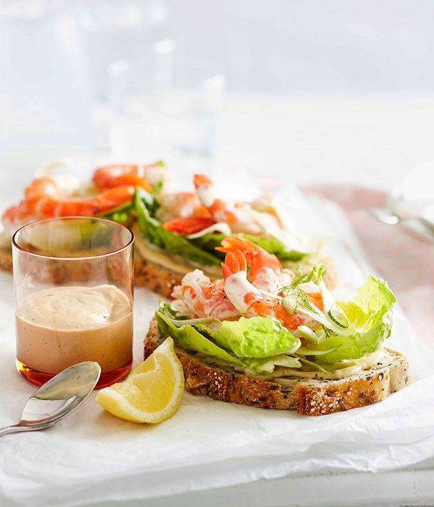 Open prawn sandwiches with anchovy mayonnaise