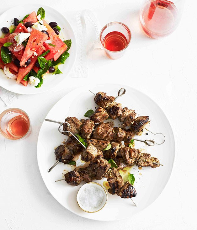 Smashed garlic and oregano lamb with watermelon salad