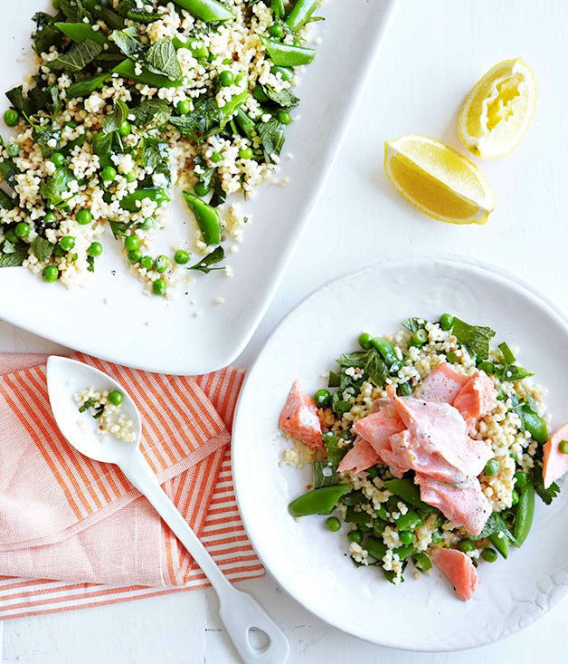 Roast ocean trout with peas, mint and fregola