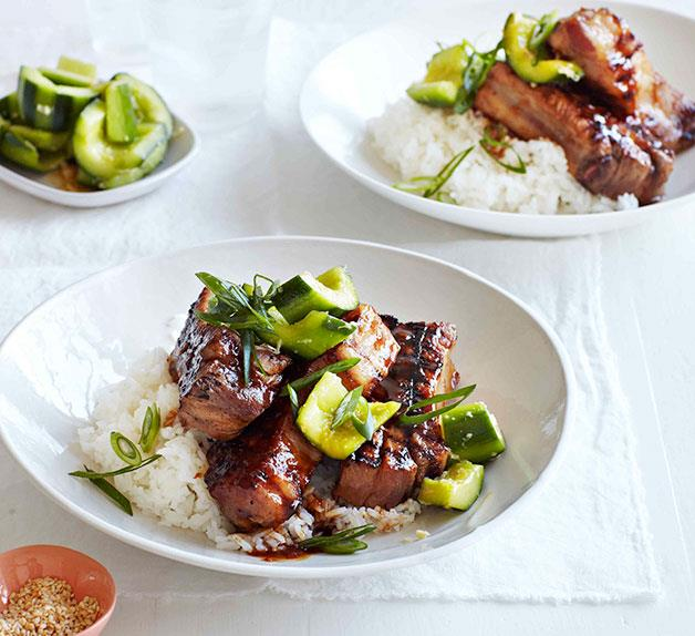 Hoisin pork spareribs with ginger-bruised cucumber