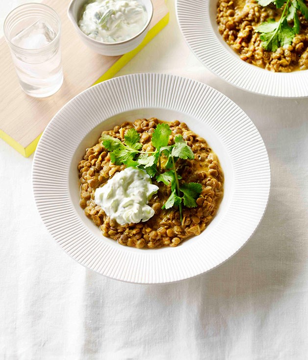 Coconut lentil dhal with cucumber yoghurt