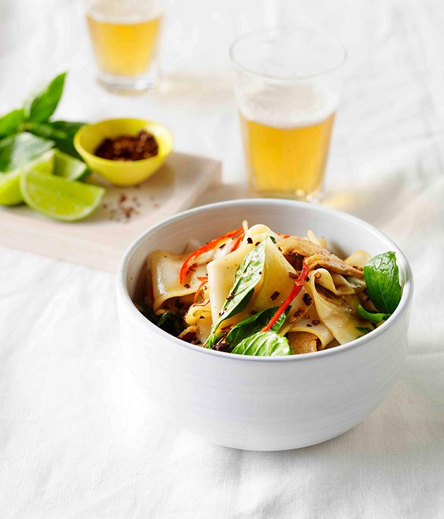 Drunken rice noodles with chicken, chilli and holy basil