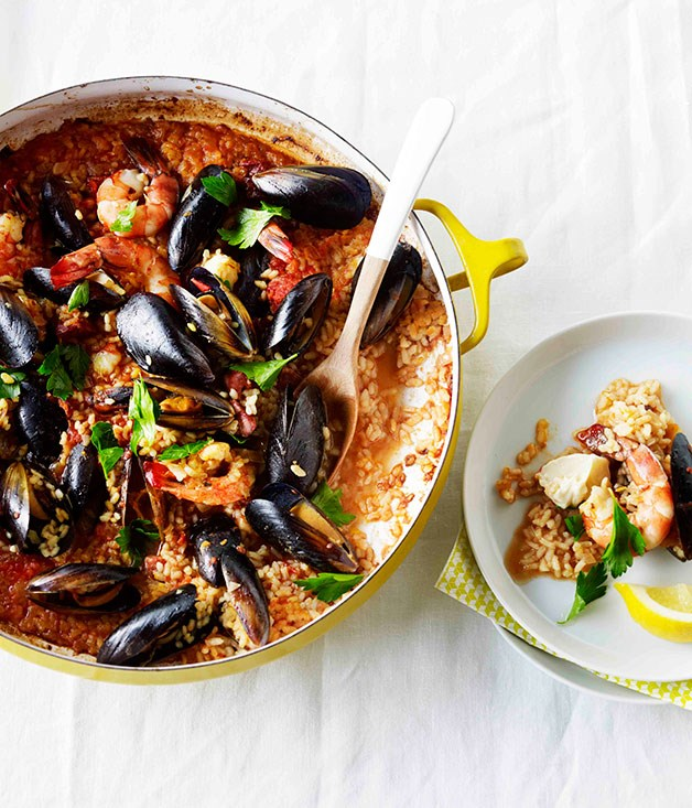 """[Spanish-style seafood saffron rice](http://www.gourmettraveller.com.au/recipes/fast-recipes/spanish-style-seafood-saffron-rice-13292