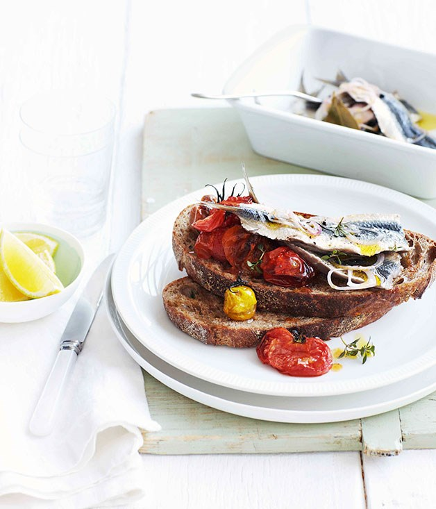 **Quick-pickled sardines with crushed roast cherry tomatoes**