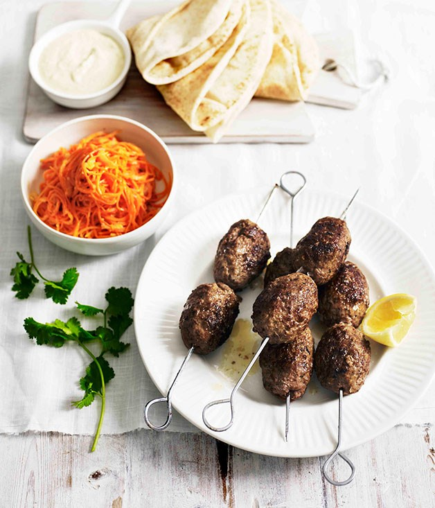 **Spiced lamb köfte with warm carrot salad**