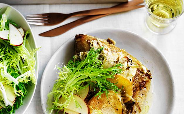 Chicken with swede, cider and crème fraîche