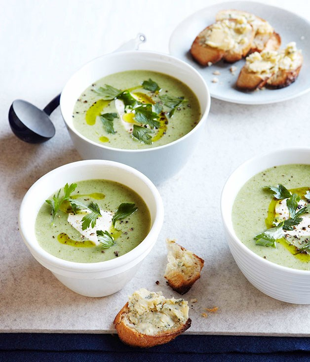 "[**Broccoli and Stilton soup**](https://www.gourmettraveller.com.au/recipes/fast-recipes/broccoli-and-stilton-soup-13309|target=""_blank"")"