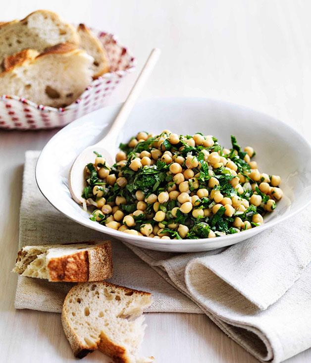 "[**Insalata di ceci - Chickpea salad**](https://www.gourmettraveller.com.au/recipes/fast-recipes/insalata-di-ceci-chickpea-salad-13320|target=""_blank"")"