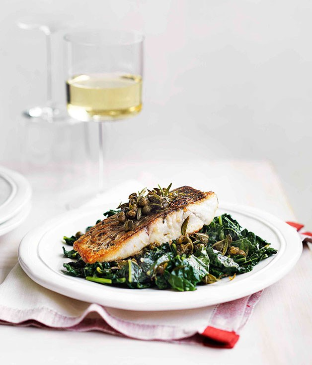 Barramundi with cavolo nero and capers