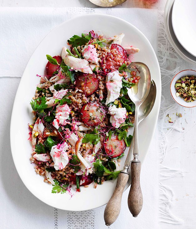 "[**Chicken, roast plum, labne and grain salad**](https://www.gourmettraveller.com.au/recipes/fast-recipes/chicken-roast-plum-labne-and-grain-salad-13326|target=""_blank"") <br><br> Plums are wonderful at this time of the year so why not add them to a hearty salad? You can use any variety, but blood plums will give a beautiful ruby colour."