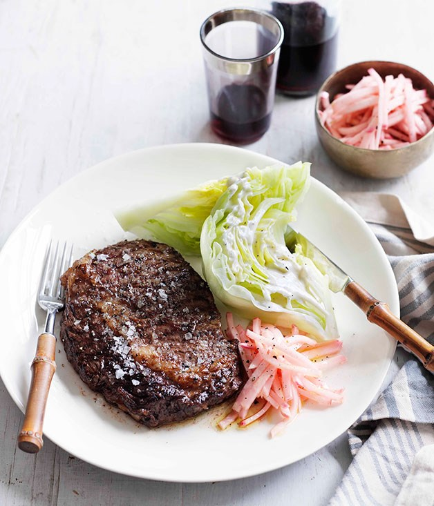 **Char-grilled Scotch fillet with pickled kohlrabi and Roquefort dressing**